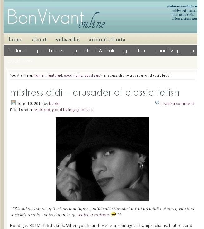 Mistress Didi* ~ bonvivant Interview