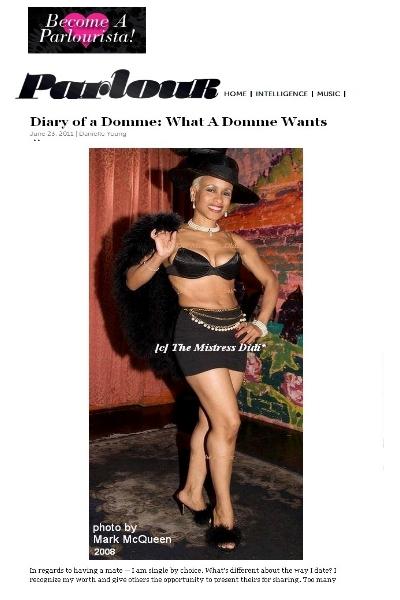 Mistress Didi* ~ Parlour Magazine Interview
