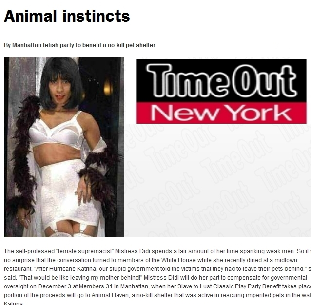 Mistress Didi* ~ Time Out NY Interview